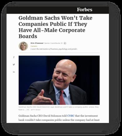 Golcman Sachs kräver diversifierade styrelser