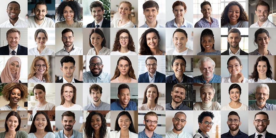 mångfald affärsstrategi företag många ansikten bakgrunder åldrar