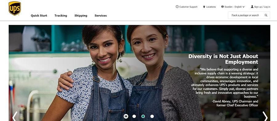 supplier diversity bild från UPS startsida