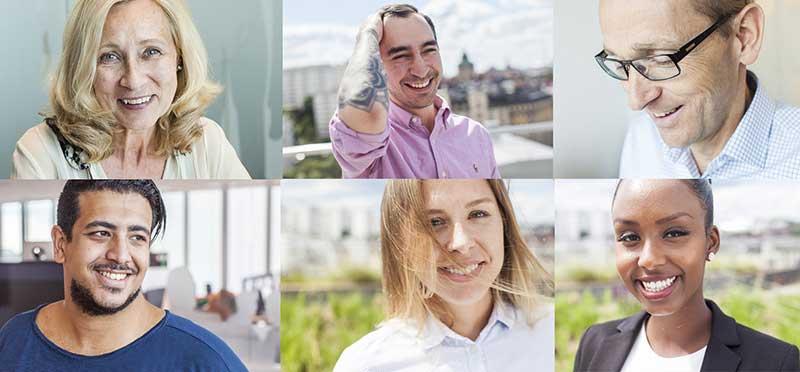 Sex olika människor med olika bakgrund. Symboliserar mångfald och fördomsfri rekrytering som TNG är specialister på.
