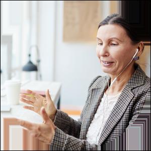 Kvinna säljare telefonsamtal grå kavaj